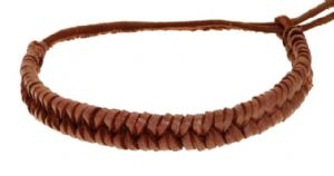 Mens Womens Real Leather Plaited Wristband Bracelet - M